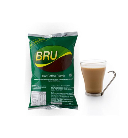 bru coffee Bru instant coffee is a perfect mix of 70% coffee and 30% chicory blend of  choicest arabica and robusta beans roasted to perfection new and enhanced.